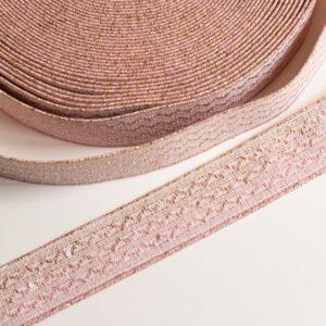 Boordelastiek met roze en goud