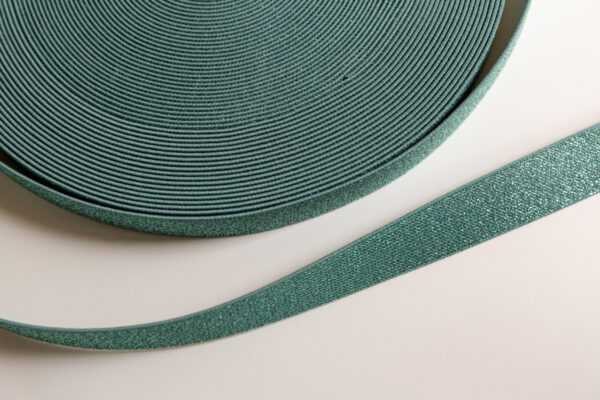 Oudgroen glitter elastiek 25mm